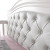 Pali Diamante Collection Forever Crib in Vintage White w/ Upholstered Leather Panel in White