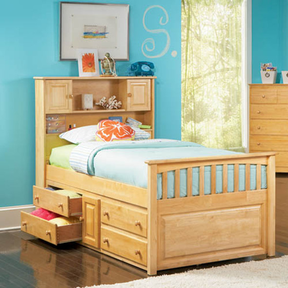 Atlantic Captain's Bed with Under Bed Chest in Natural Maple, Twin Size