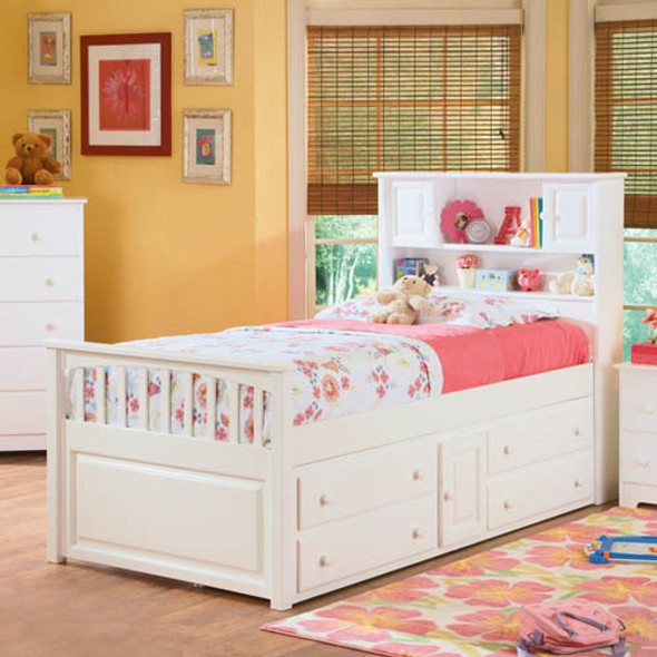 Atlantic Captain's Bed with Under Bed Chest in White, Twin Size