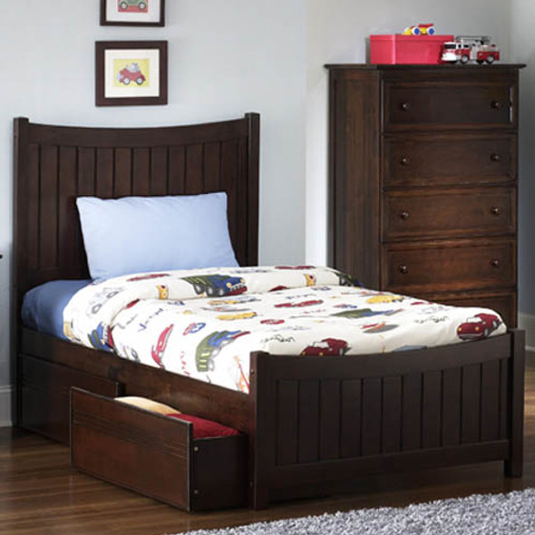 Atlantic Manhattan Bed with Flat Panel Bed Drawers in Antique Walnut: Twin Size