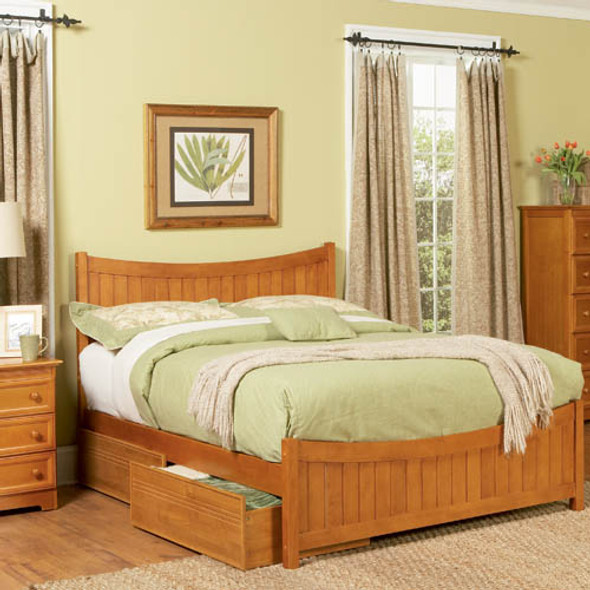 Atlantic Manhattan Bed with Flat Panel Bed Drawers in Caramel Latte: Full Size