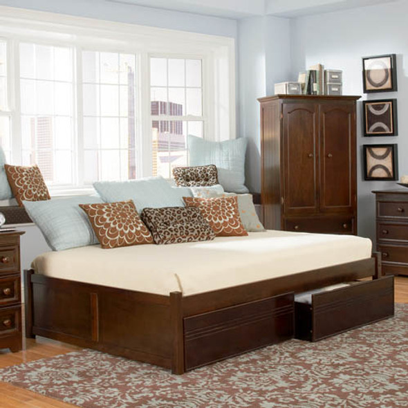 Atlantic Concord Bed with Flat Panel Drawers in Antique Walnut: Queen Size