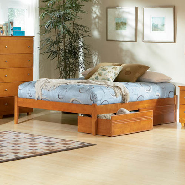 Atlantic Concord Bed with Flat Panel Drawers in Caramel Latte: Queen Size
