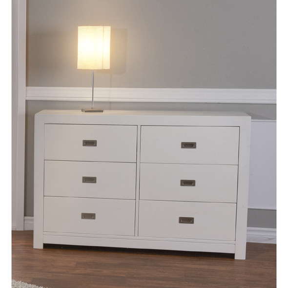 Pali Novara Collection 6 Drawer Double Dresser in White