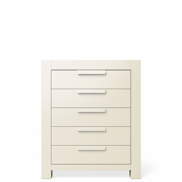Romina Ventianni Collection Five Drawer Chest in Bianco Satinato