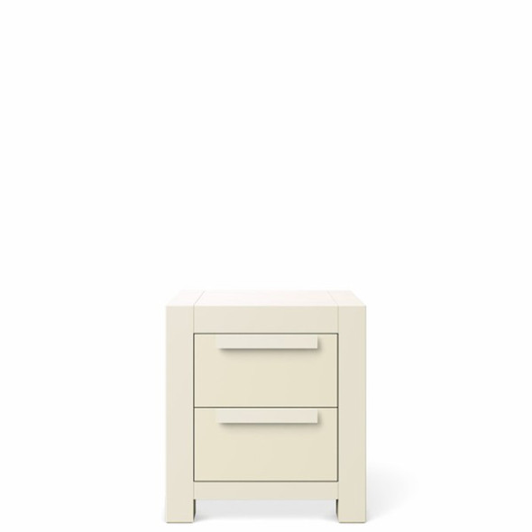 Romina Ventianni Collection Two Drawers Nightstand in Bianco Satinato