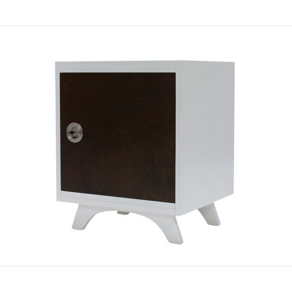 Dutailier Melon Night Stand - White and Coffee