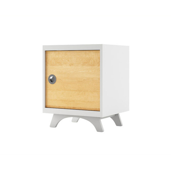 Dutailier Melon Night Stand - White and Natural