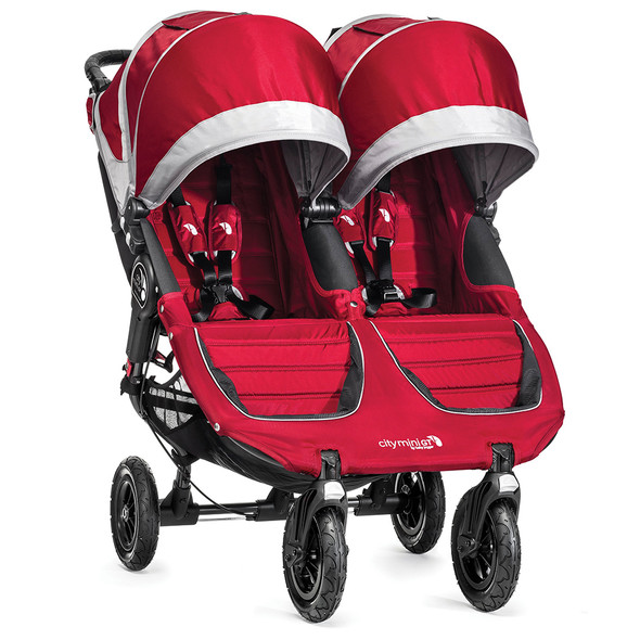 Baby Jogger City Mini GT Double Stroller in Crimson/Grey