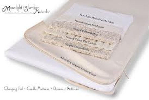 Moonlight Slumber Natural Cotton Changing Table Pad with All-in-One Organic Cotton Coverlet