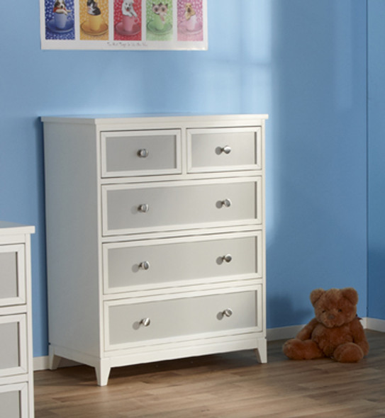 Pali Treviso Collection Five Drawer Dresser in White/Grey