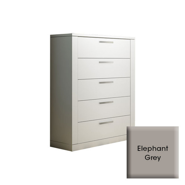 NEST Milano Collection 5 Drawer Dresser in Elephant Grey
