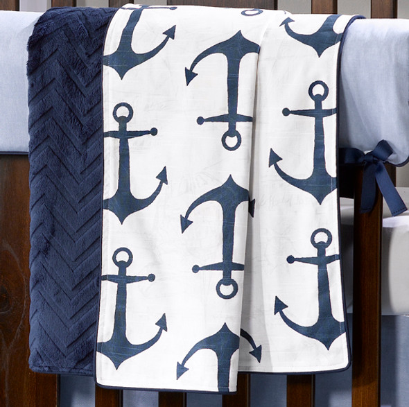 Liz and Roo Navy Anchors Minky Receiving Blanket