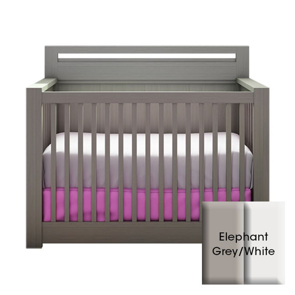 NEST Milano Collection Convertible Crib in Elephant Grey and White