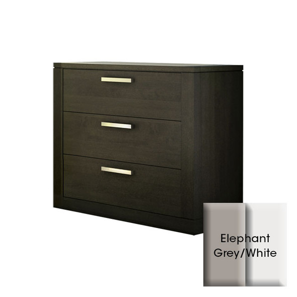 NEST Milano Collection 3 Drawer Dresser in Elephant Grey and White