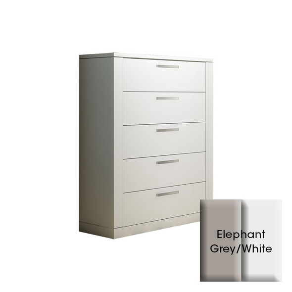 NEST Milano Collection 5 Drawer Dresser in Elephant Grey and White