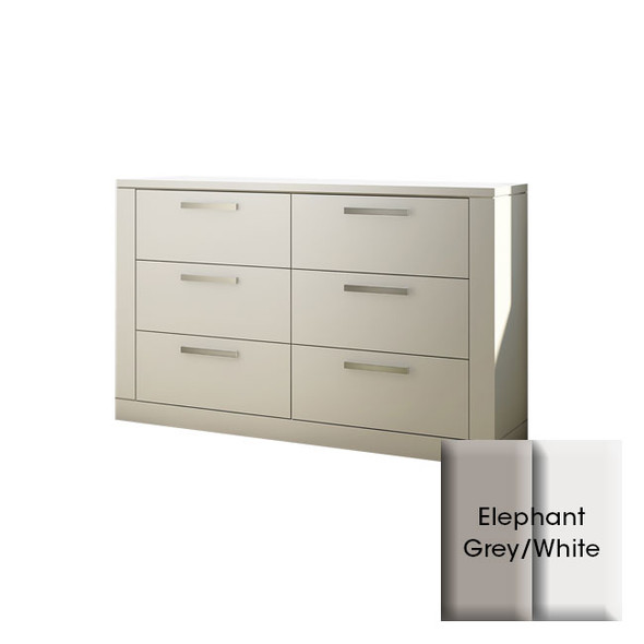 NEST Milano Collection Double Dresser in Elephant Grey and White