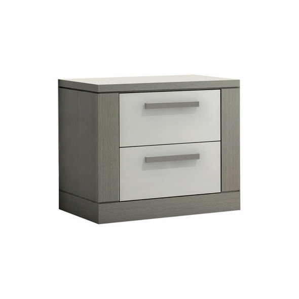 NEST Milano Collection Nightstand in Elephant Grey and White