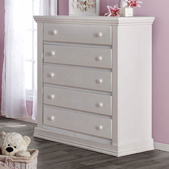 Pali Modena Collection 5 Drawer Dresser in Vintage White