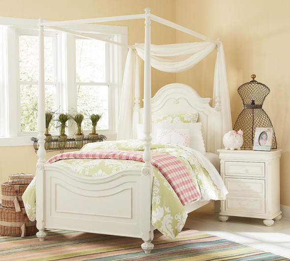 Legacy Classic Kids Charlotte Twin Size Low Poster Bed with Canopy