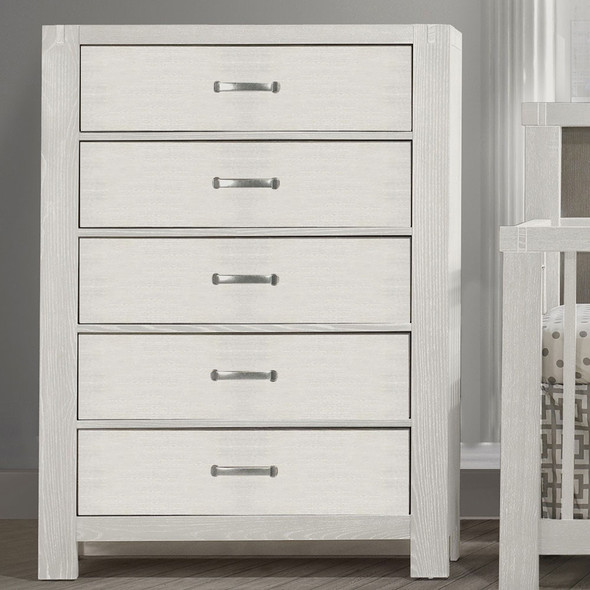 Natart Rustico Collection 5 Drawer Dresser in White