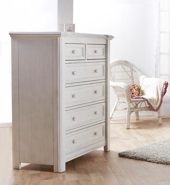 Pali Cristallo Five Drawer Dresser in Vintage White
