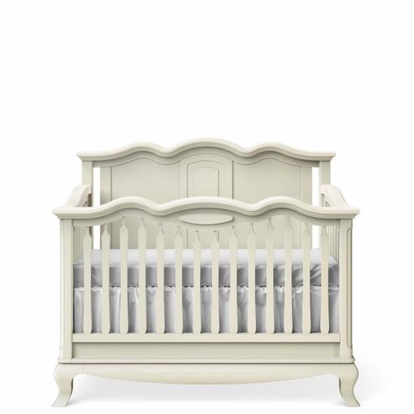 Romina Cleopatra Collection Crib w/ Solid Panel Headboard in Bianco Satinato
