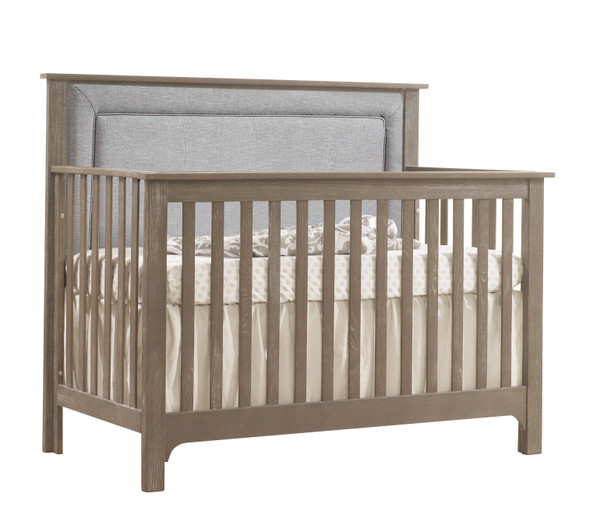 NEST Emerson Collection 4 in 1 Convertible Crib in Sugar Cane with Upholstered Panel in Fog
