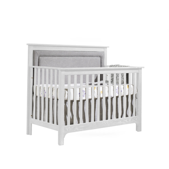 NEST Emerson Collection 4 in 1 Convertible Crib in White with Upholstered Panel in Fog