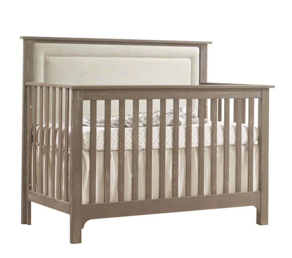 NEST Emerson Collection 4 in 1 Convertible Crib in Sugar Cane with Upholstered Panel in Talc