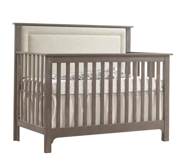 NEST Emerson Collection 4 in 1 Convertible Crib in Owl with Upholstered Panel in Talc