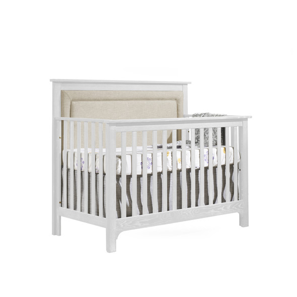 NEST Emerson Collection 4 in 1 Convertible Crib in White with Upholstered Panel in Talc