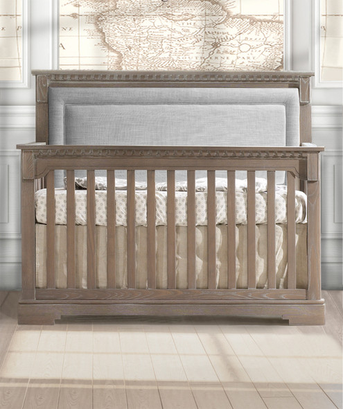 Natart Ithaca Collection 5 in 1 Convertible Crib in Sugar Cane with Upholstered Panel in Fog