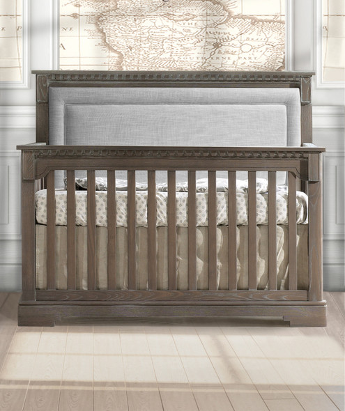 Natart Ithaca Collection 5 in 1 Convertible Crib in Owl with Upholstered Panel in Fog