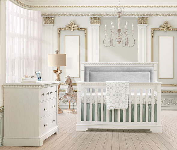 Natart Ithaca Collection 5 in 1 Convertible Crib in White with Upholstered Panel in Fog