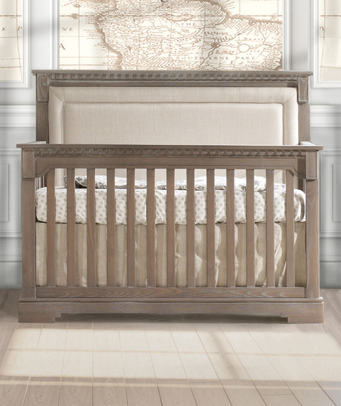 Natart Ithaca Collection 5 in 1 Convertible Crib in Sugar Cane with Upholstered Panel in Talc
