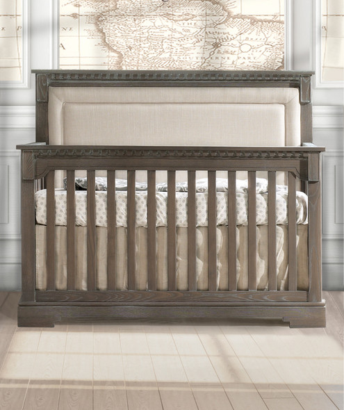 Natart Ithaca Collection 5 in 1 Convertible Crib in Owl with Upholstered Panel in Talc
