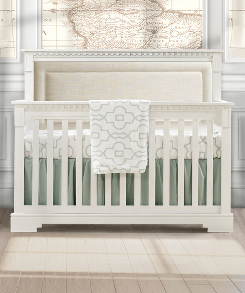 Natart Ithaca Collection 5 in 1 Convertible Crib in White with Upholstered Panel in Talc