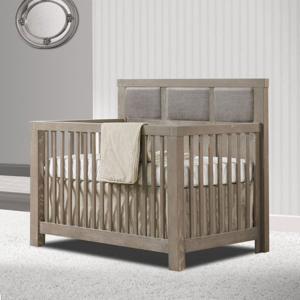 Natart Rustico Collection 5 in 1 Convertible Crib in Sugar Cane with Upholstered Panel in Fog
