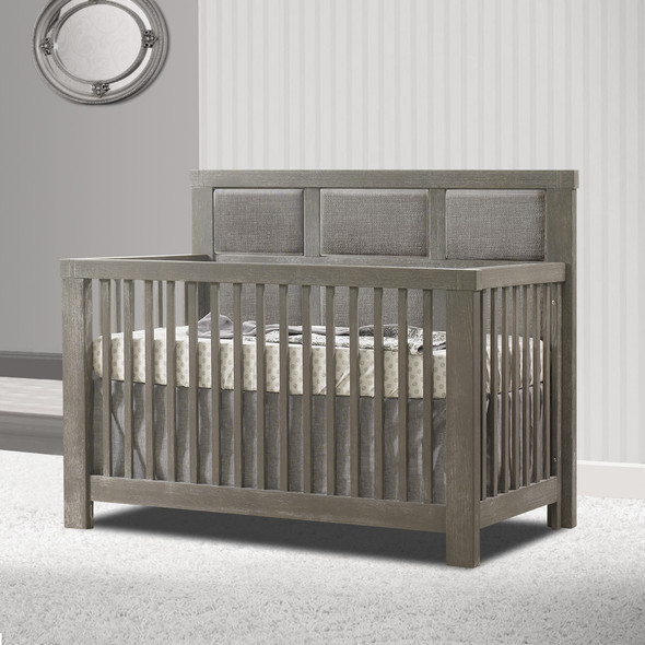 Natart Rustico Collection 5 in 1 Convertible Crib in Owl with Upholstered Panel in Fog