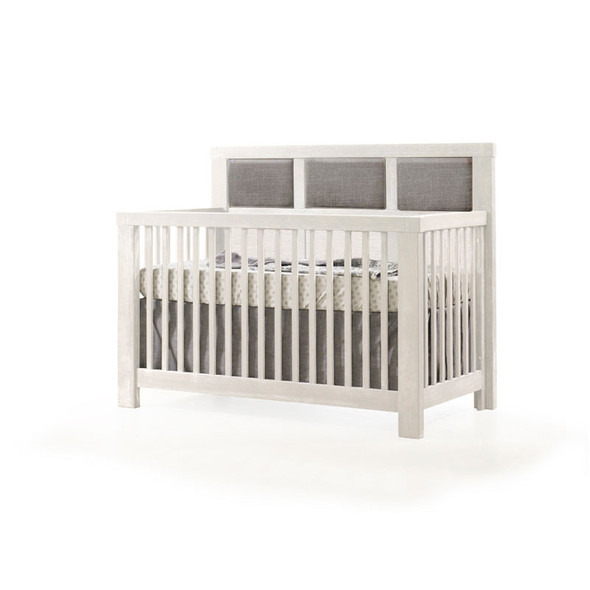 Natart Rustico Collection 5 in 1 Convertible Crib in White with Upholstered Panel in Fog