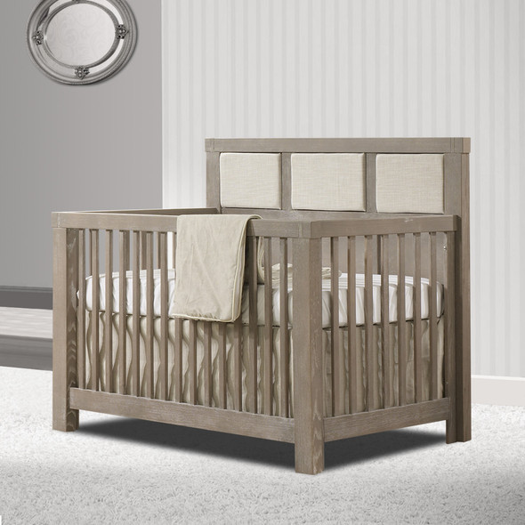Natart Rustico Collection 5 in 1 Convertible Crib in Sugar Cane with Upholstered Panel in Talc
