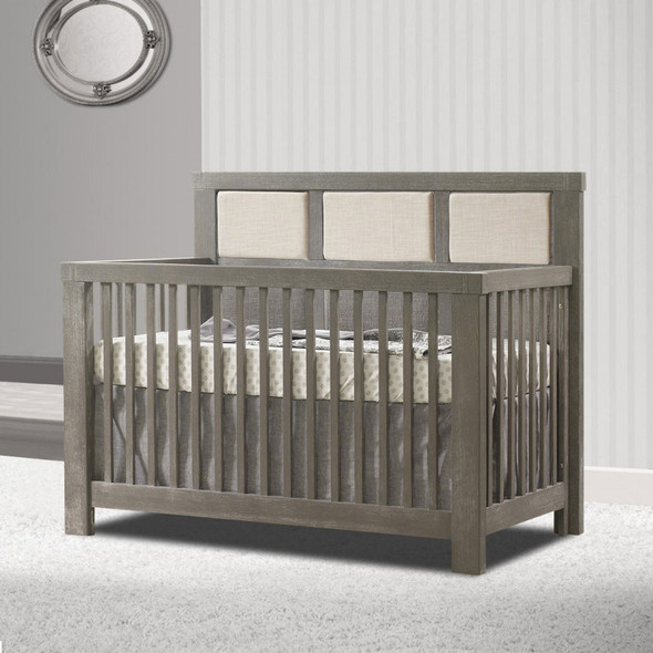 Natart Rustico Collection 5 in 1 Convertible Crib in Owl with Upholstered Panel in Talc