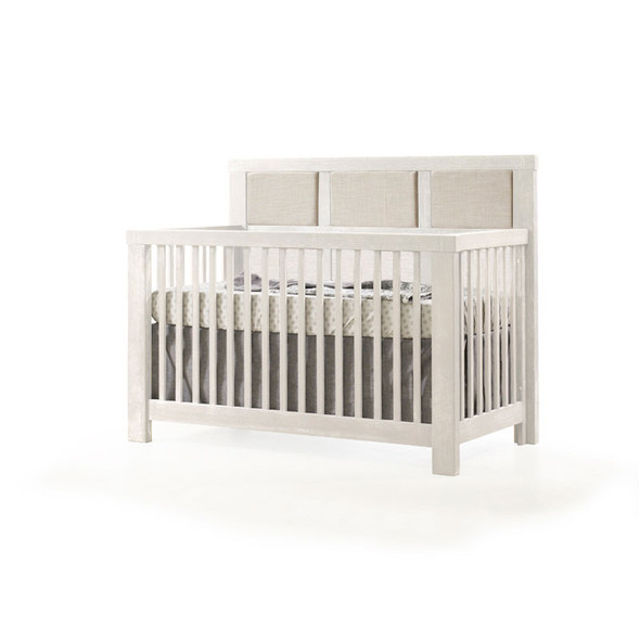 Natart Rustico Collection 5 in 1 Convertible Crib in White with Upholstered Panel in Talc