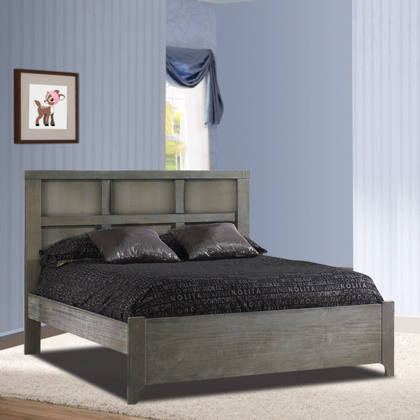 """Natart Rustico Collection Double Bed 54"""" with Low profile footboard & rails in Owl"""