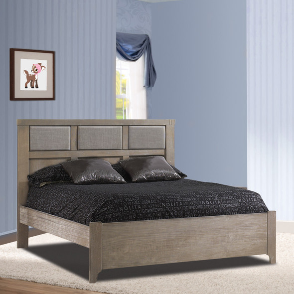 "Natart Rustico Collection Double Bed 54"" in Sugar Cane with Low profile footboard, rails & upholstered Panel in Fog"