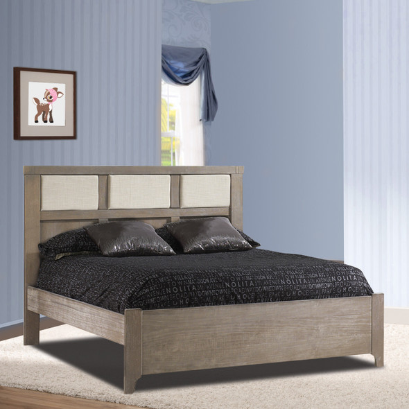 "Natart Rustico Collection Double Bed 54"" in Sugar Cane with Low profile footboard, rails & upholstered Panel in Talc"