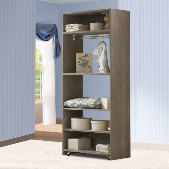Natart Rustico Collection Convertible wardrobe system (included 3 shelves & 2 hanging rods) in Sugar Cane