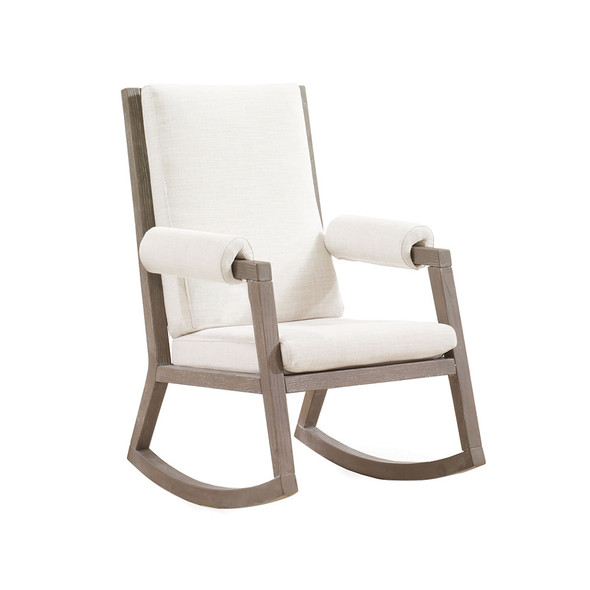 Natart Senza Rocker with Sugar Cane Wood Finish Upholstered in White