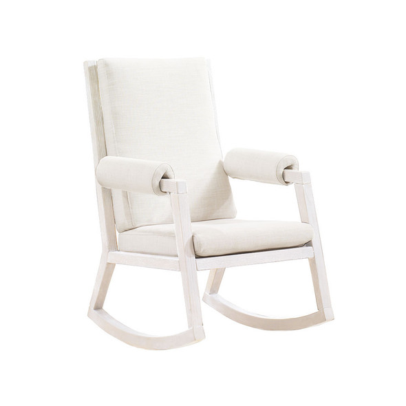 Natart Senza Rocker with White Wood Finish Upholstered in White
